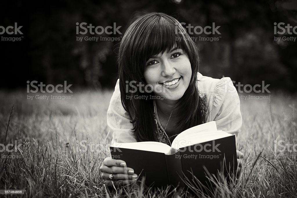 Relaxed Reading (sepia toned) royalty-free stock photo