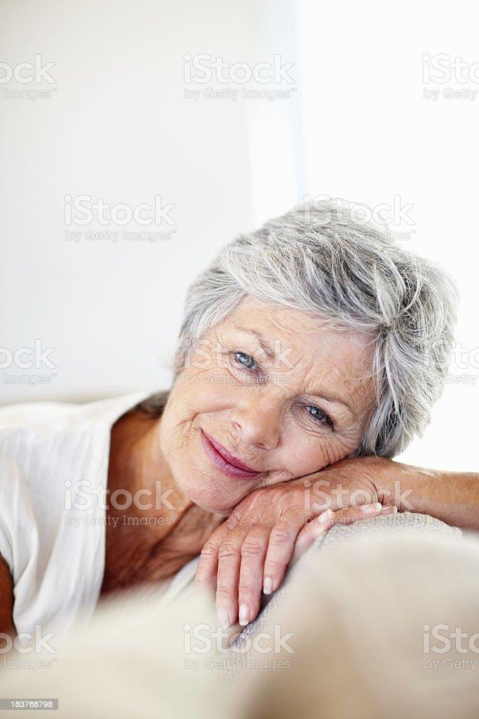 Relaxed senior woman royalty-free stock photo