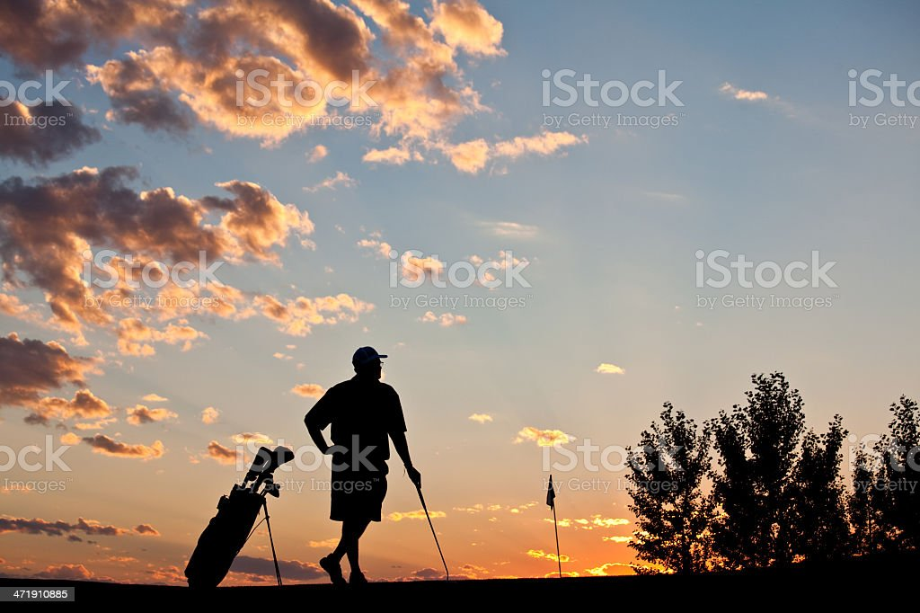 Relaxed Silhouette of Senior Golfer royalty-free stock photo