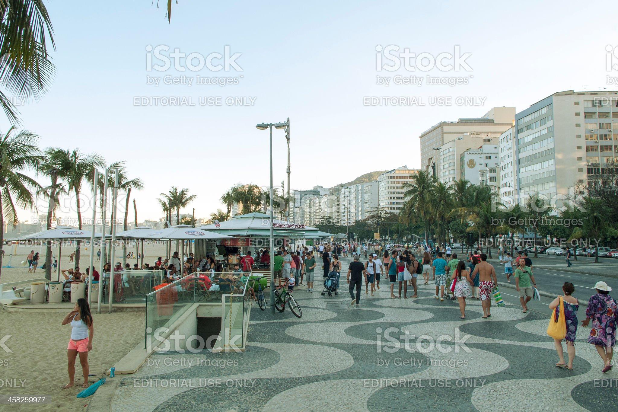 Relaxed Sunday in Copacabana Beach royalty-free stock photo