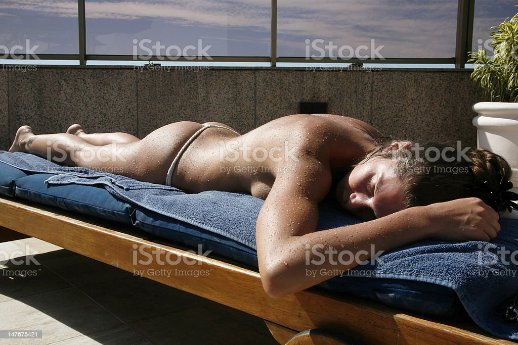 Relaxed woman after swimming royalty-free stock photo