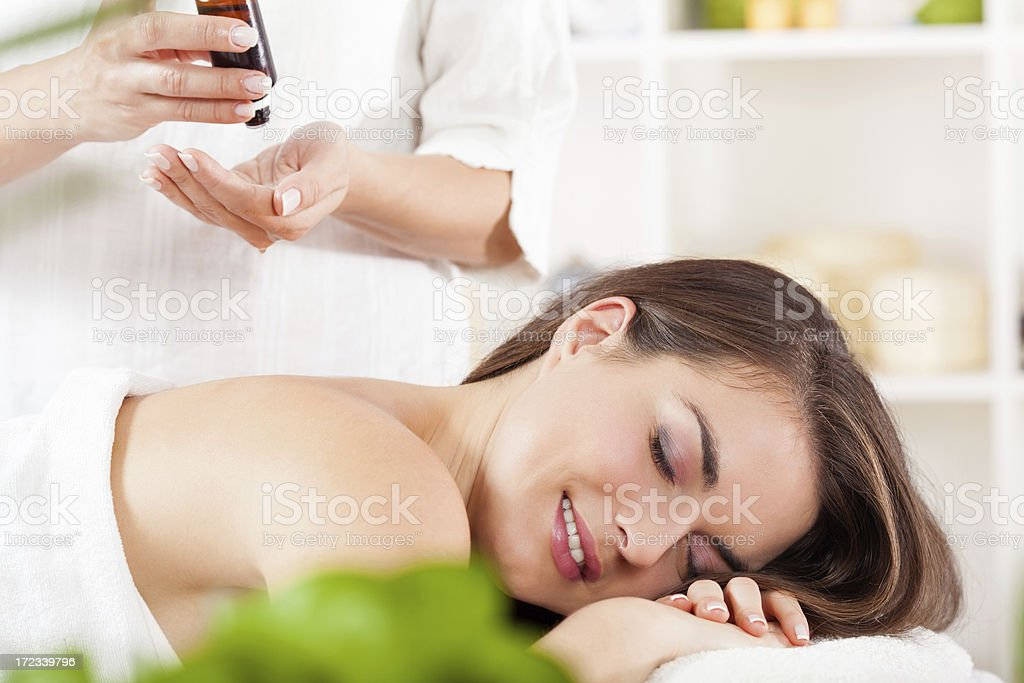 Relaxed woman at spa royalty-free stock photo