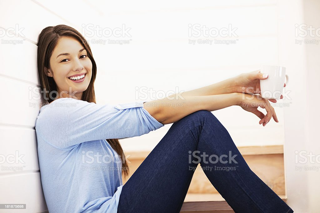 Relaxed Woman Having Coffee royalty-free stock photo