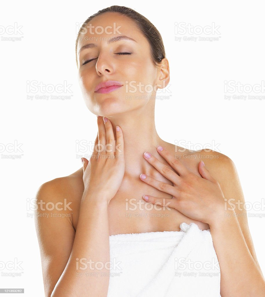 Relaxed woman with eyes closed royalty-free stock photo
