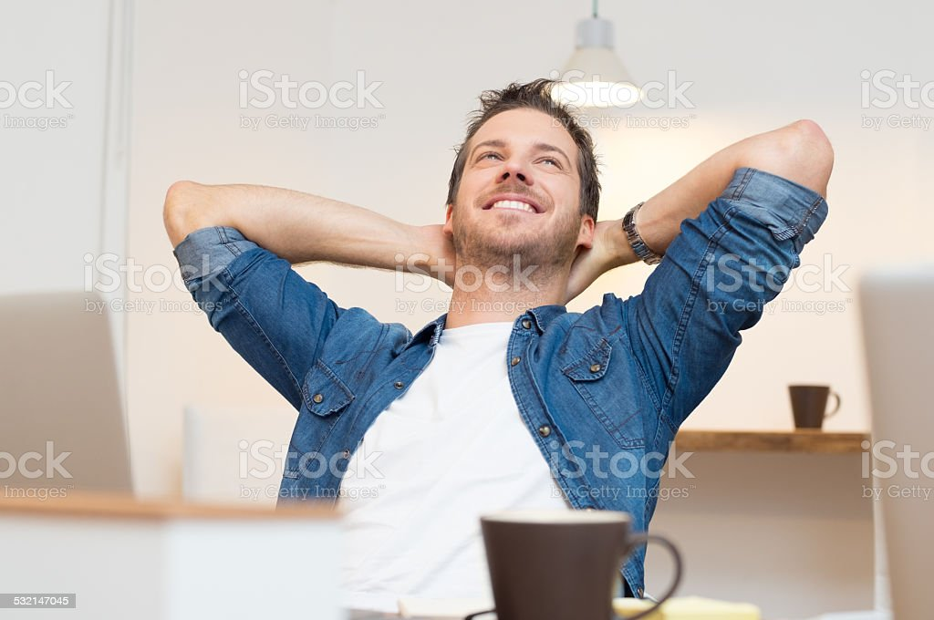 Relaxed young man stock photo