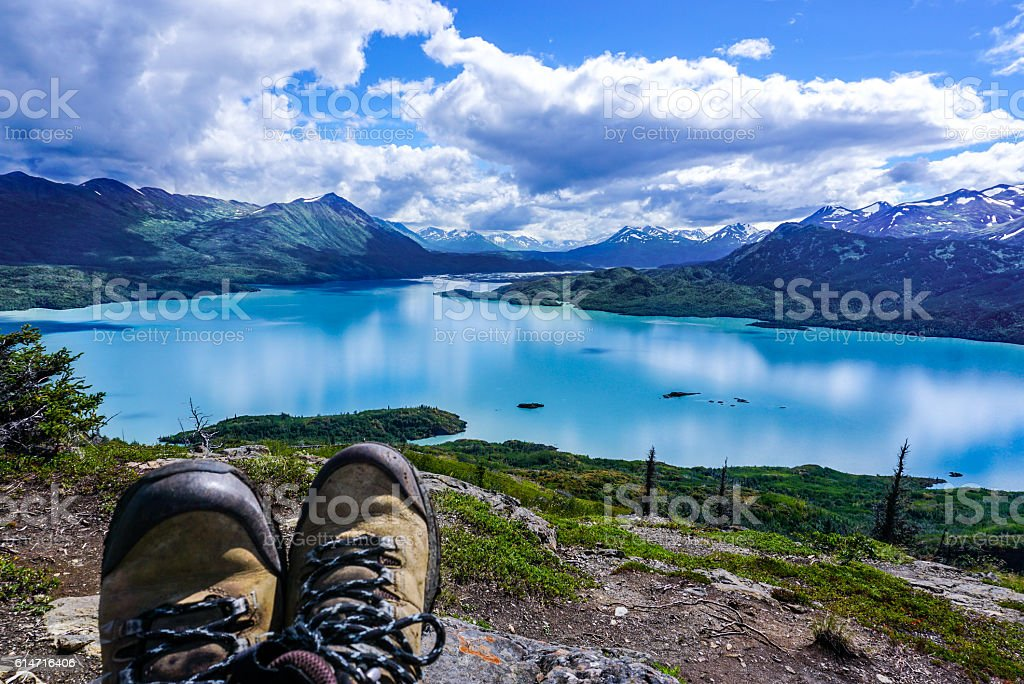 Relaxing after a hike stock photo