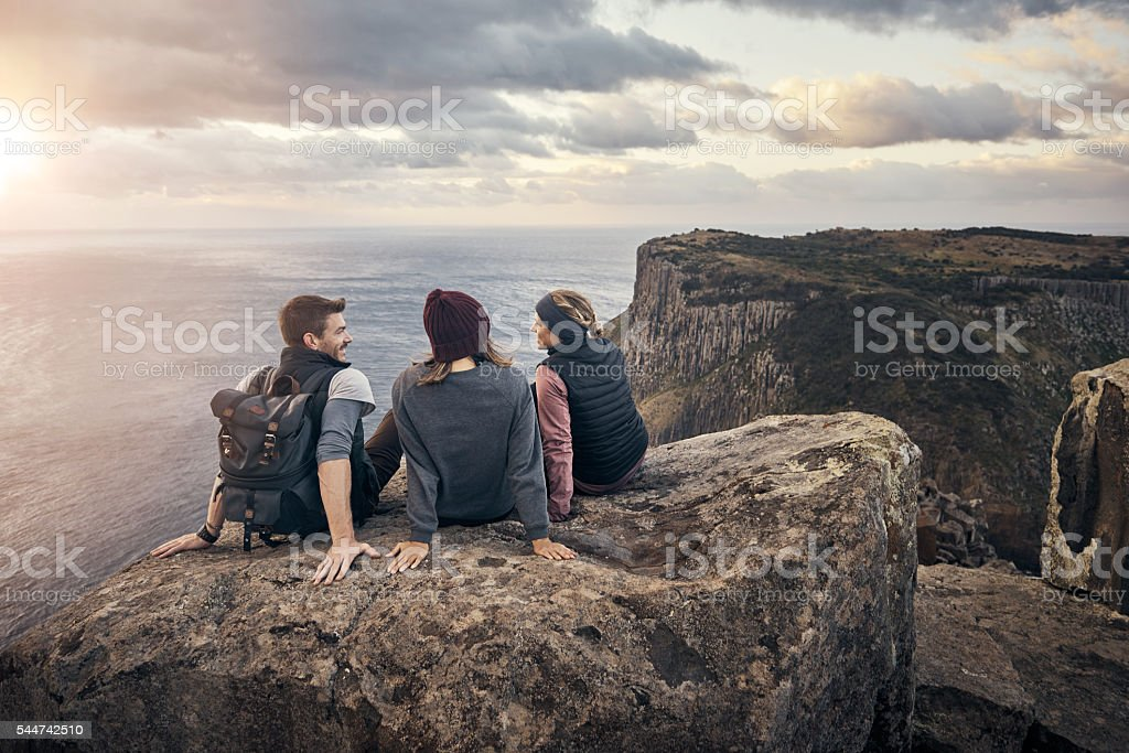 Relaxing after a long day's hike stock photo