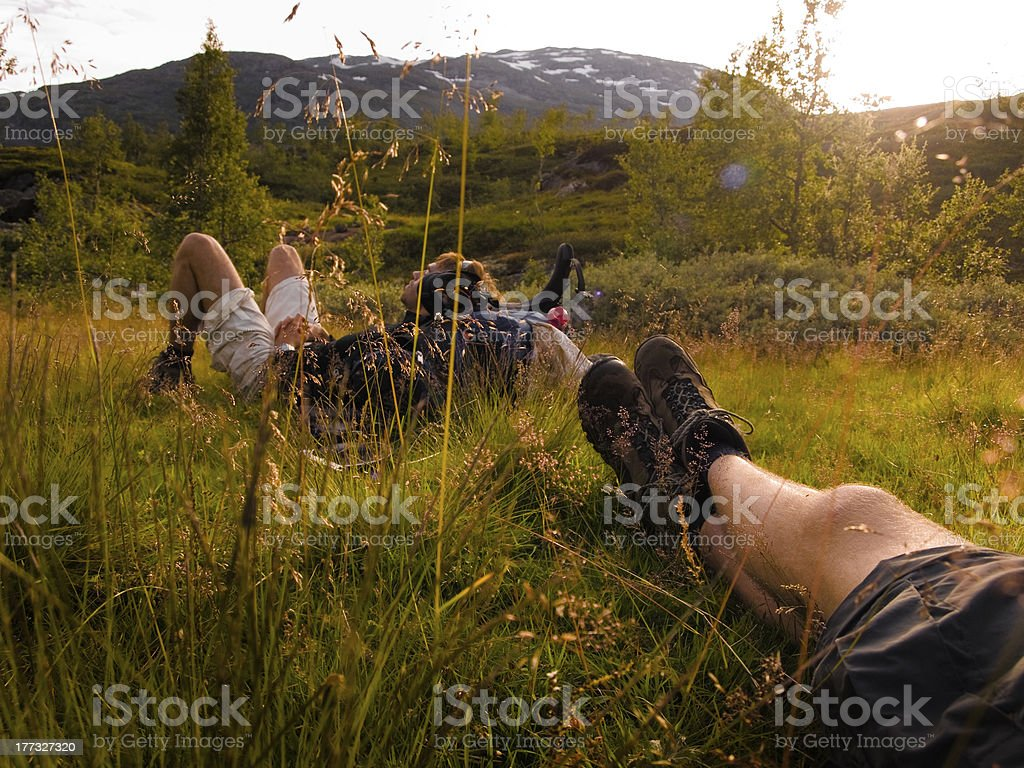 Relaxing after a long hike stock photo