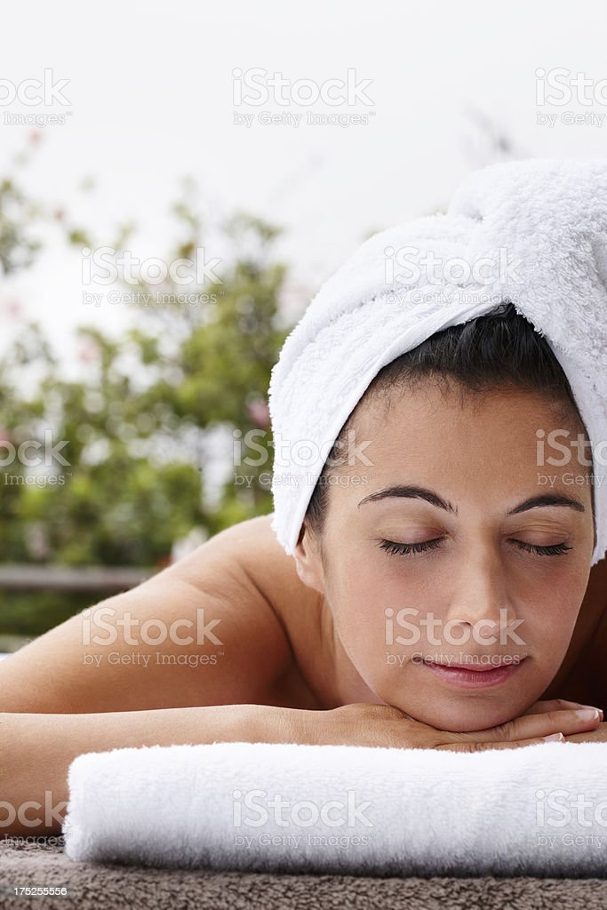 Relaxing after some pampering royalty-free stock photo