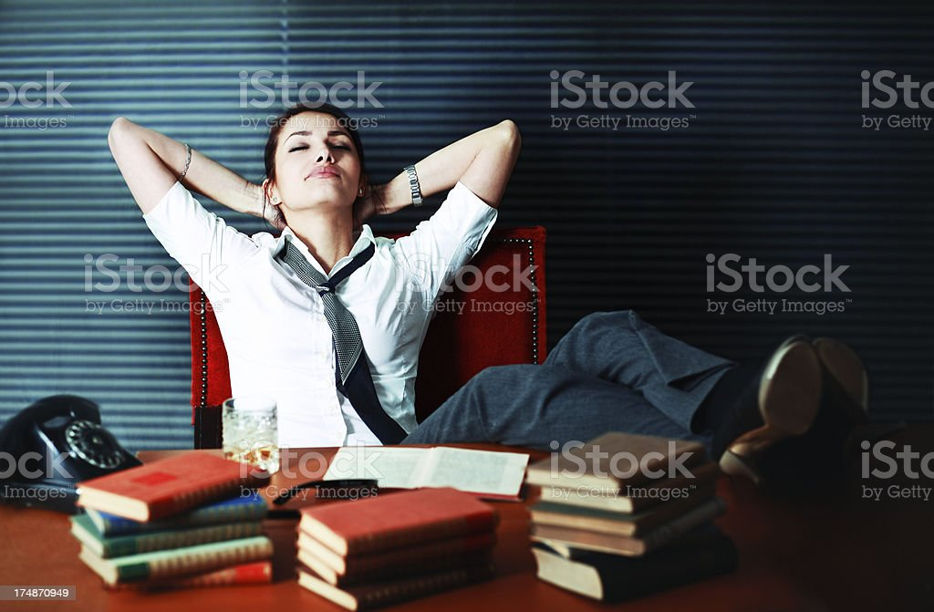 Relaxing after work royalty-free stock photo