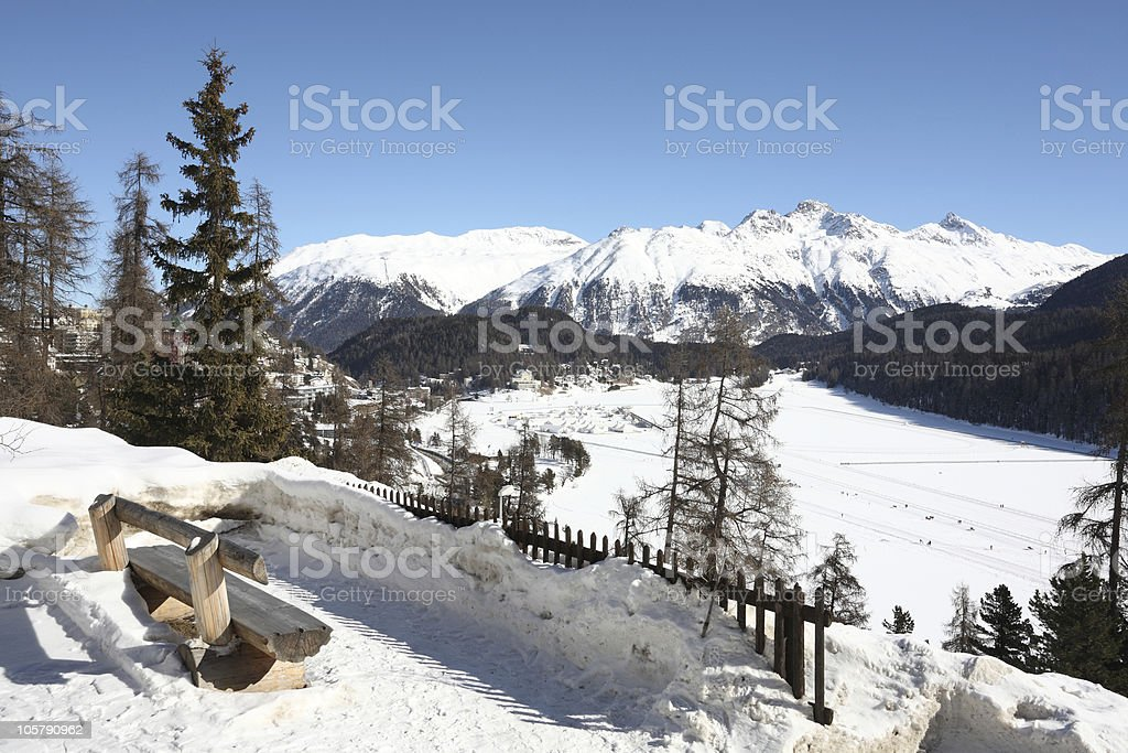 Relaxing and Skiing in St. Moritz Swiss Winter royalty-free stock photo