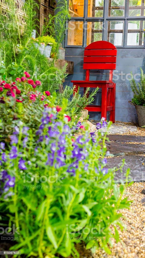 Relaxing area in cozy garden. stock photo