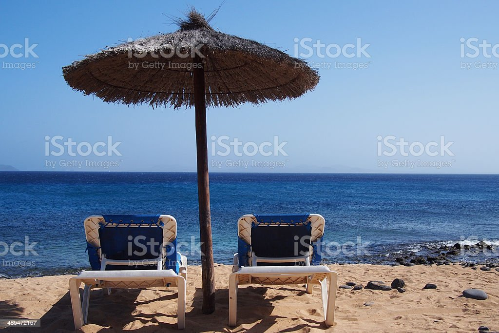 Relaxing area nearby sandy beach royalty-free stock photo