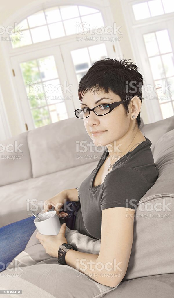 Relaxing at Home with caffee stock photo