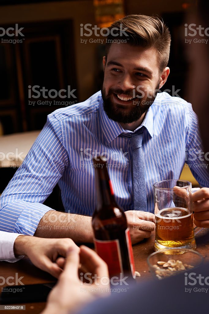 Relaxing at pub stock photo