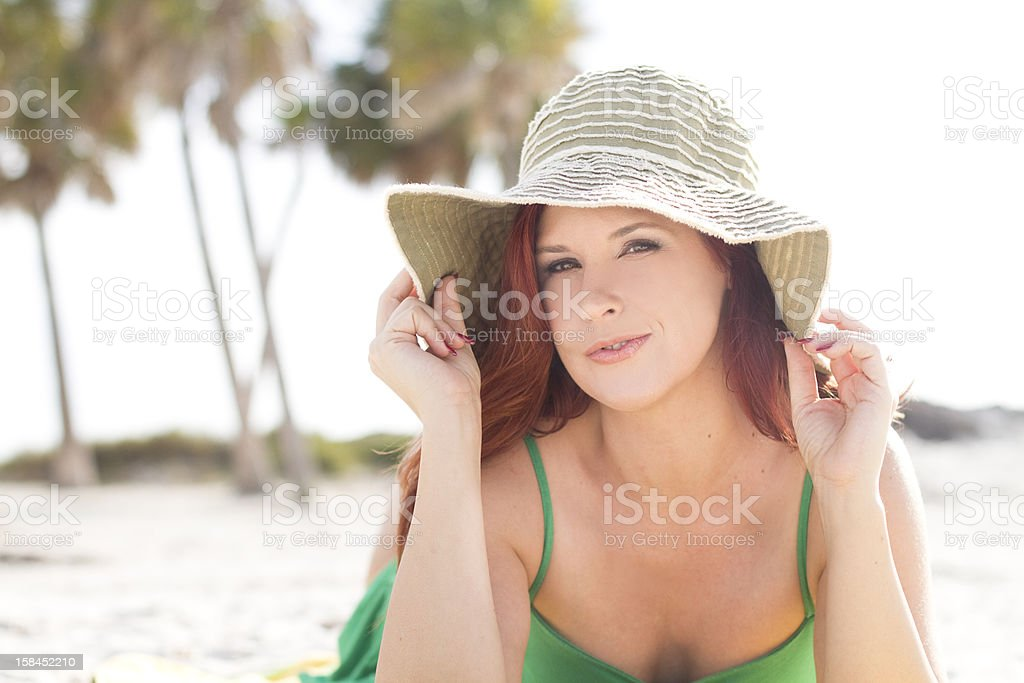 relaxing at the beach stock photo