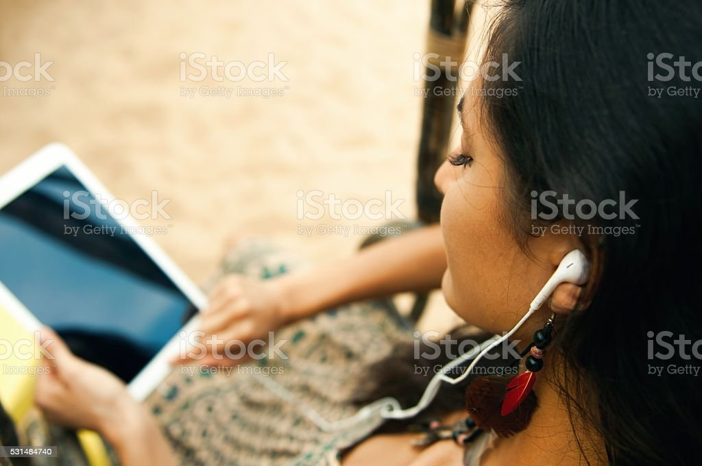 Relaxing at the beach. stock photo