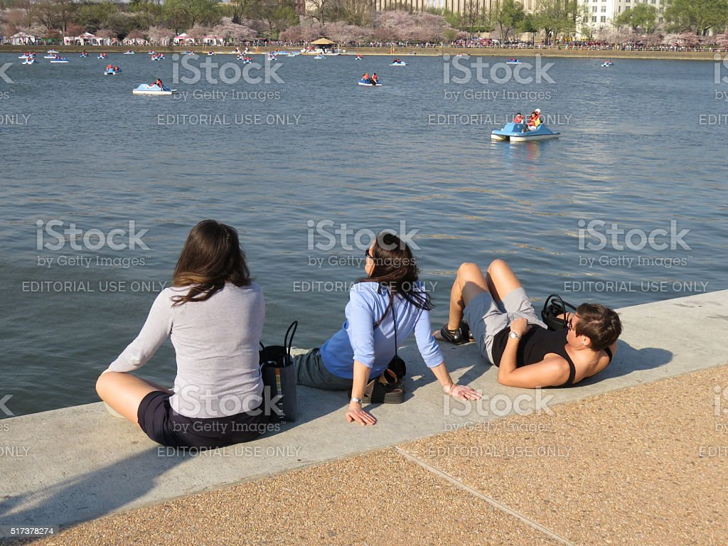 Relaxing at the Tidal Basin stock photo