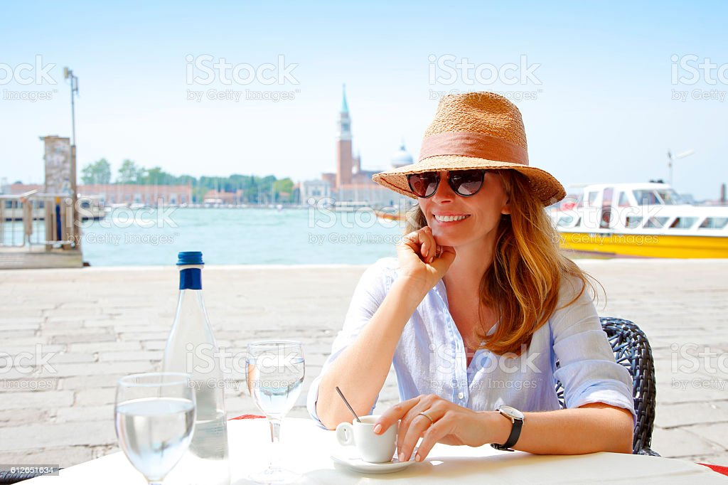 Relaxing at Venice stock photo