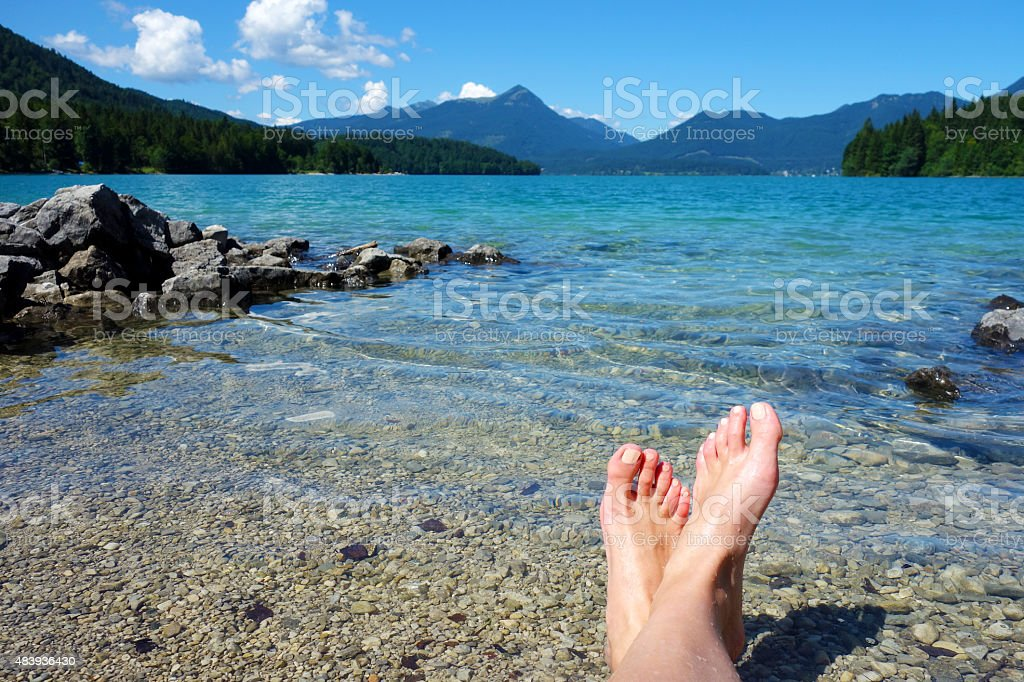 Relaxing at Walchensee, Germany stock photo