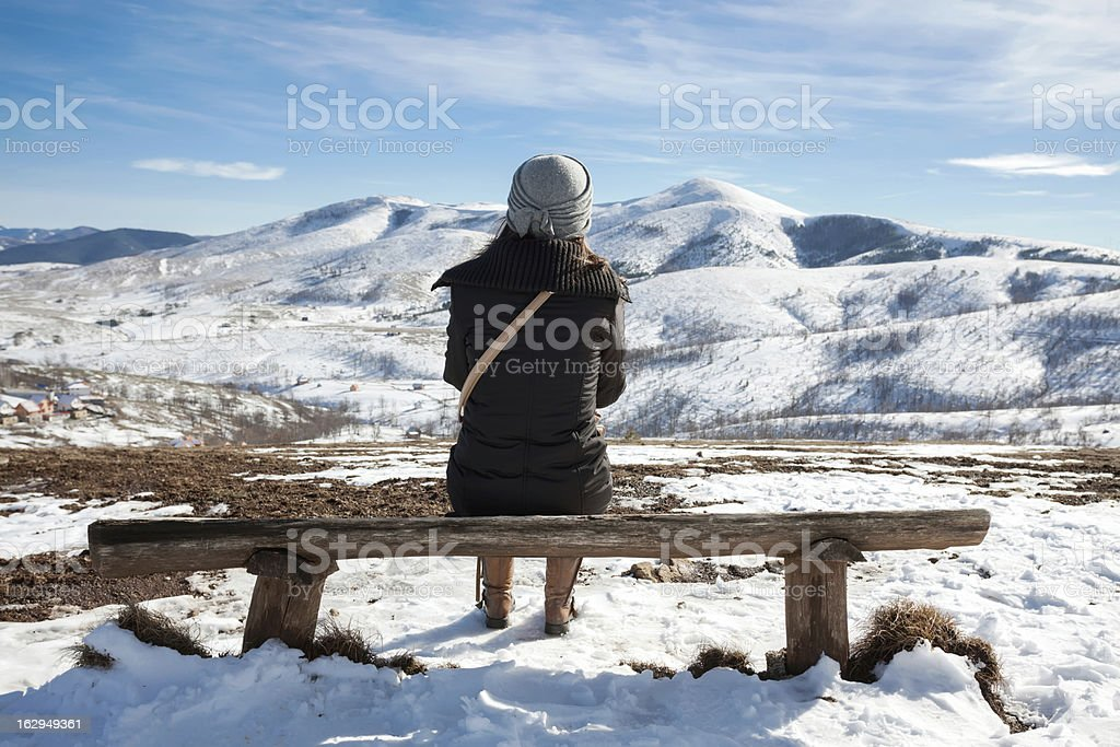 Relaxing at winter mountain landscape royalty-free stock photo