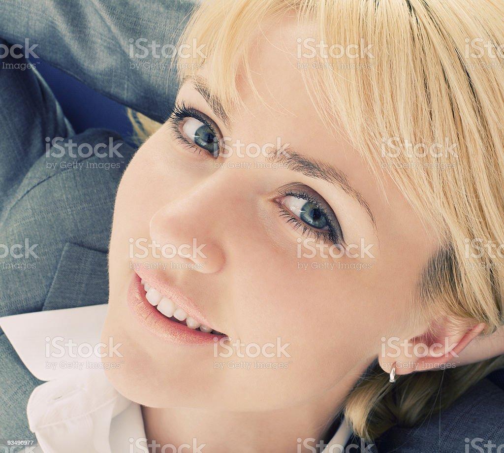 Relaxing businesswoman stock photo