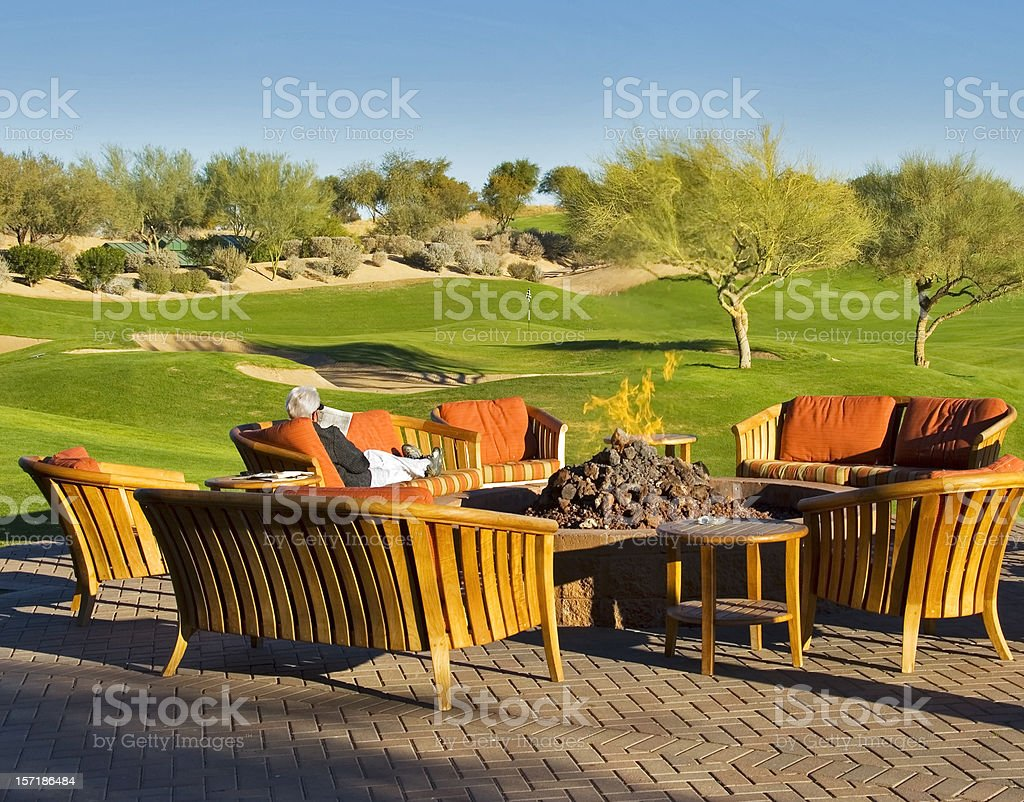 Relaxing by the Fire Pit stock photo