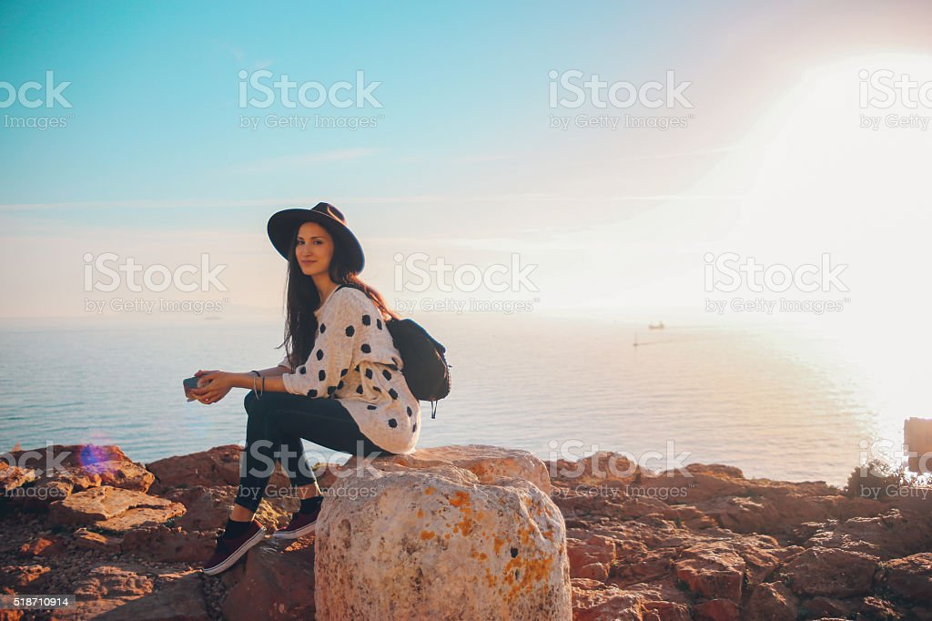 Relaxing by the sea stock photo