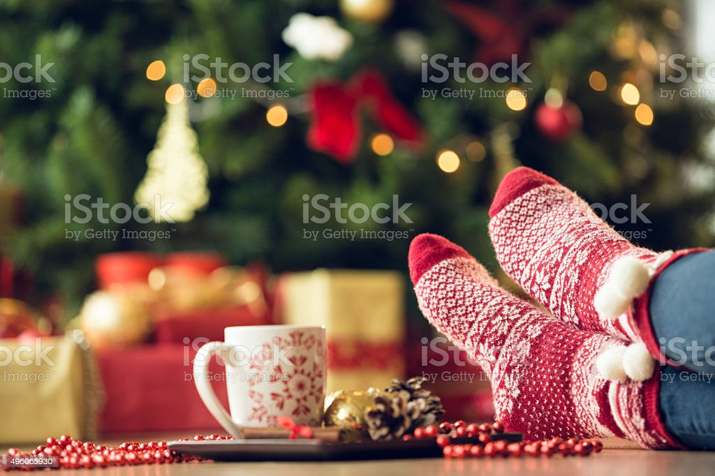 Relaxing during Christmas holidays stock photo