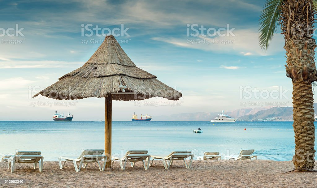 Relaxing facilities on central beach of Eilat, Israel stock photo