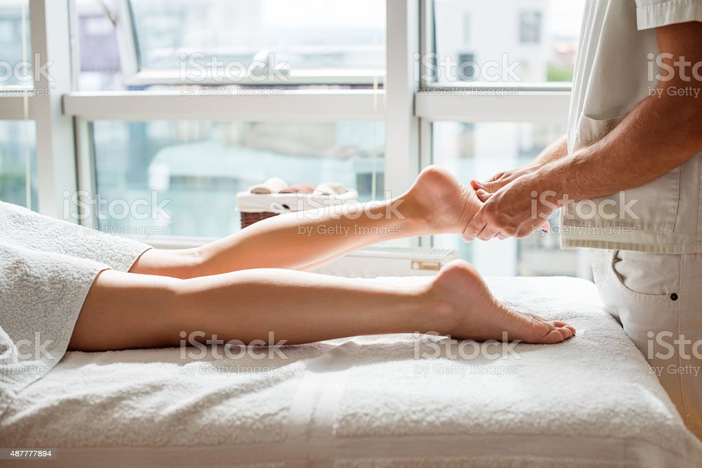 Relaxing foot treatment stock photo