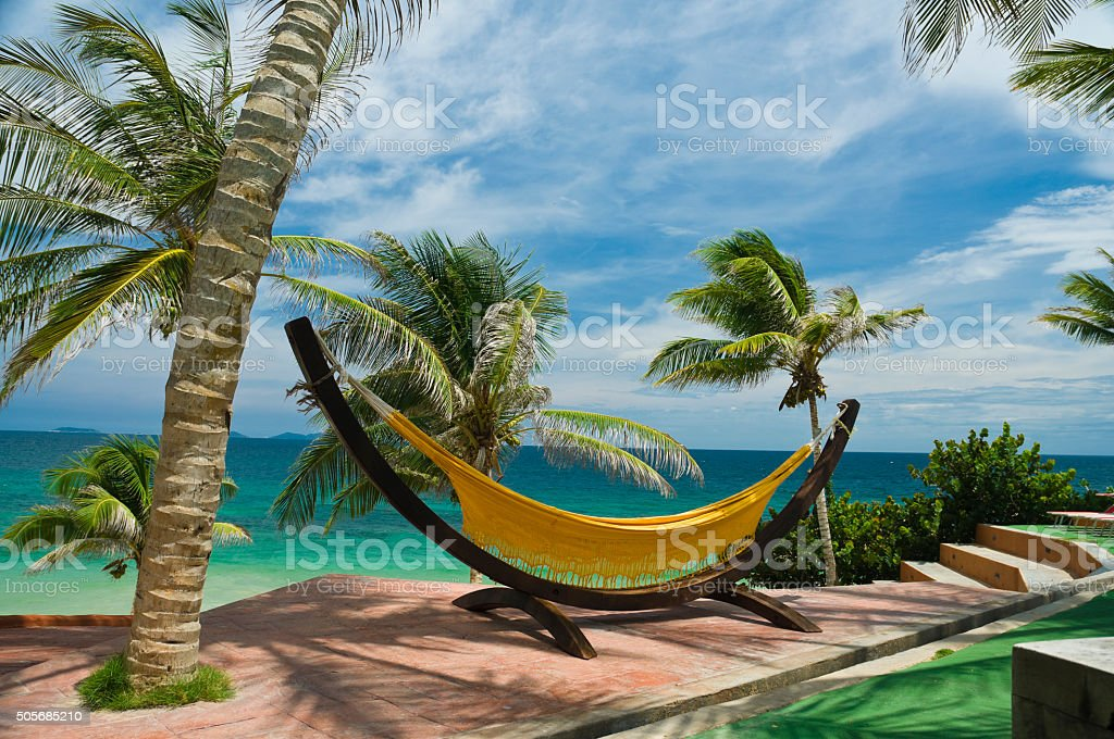 Relaxing hammock hanging under coconut palm trees stock photo