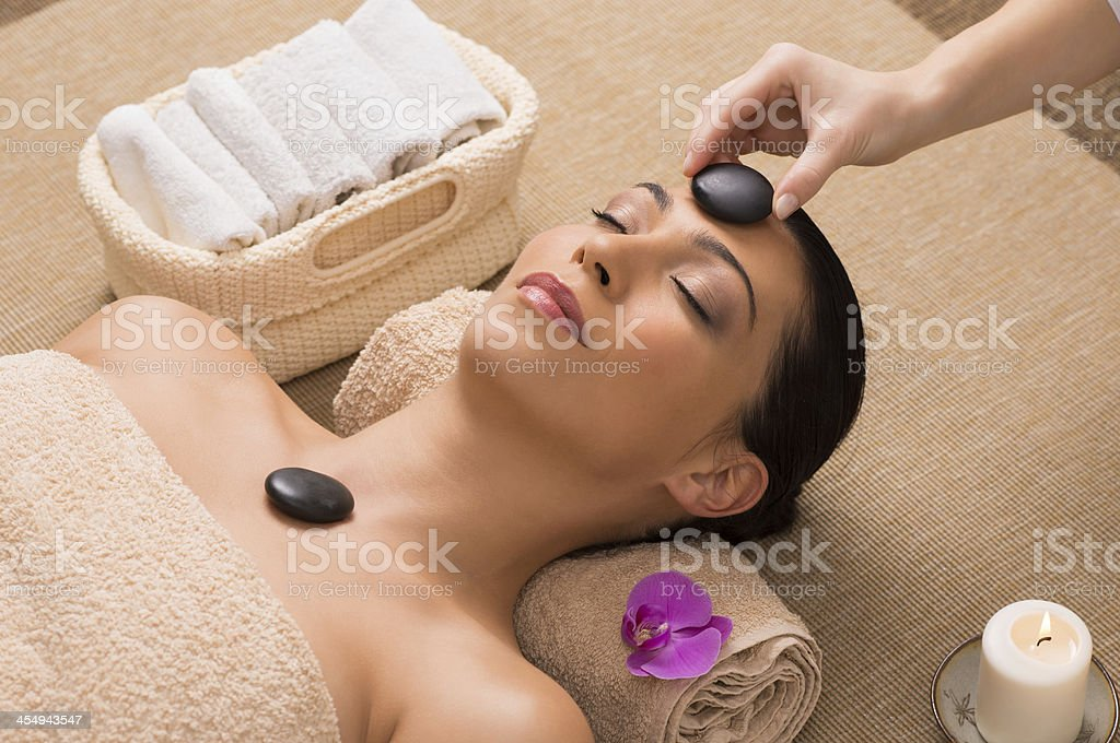 Relaxing Hot Stone Massage stock photo