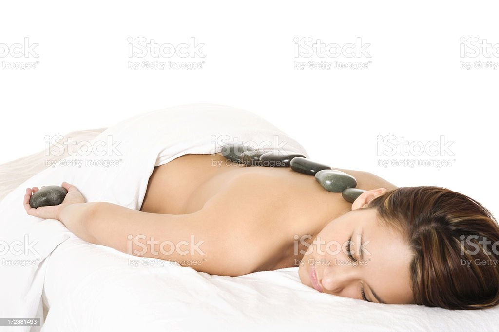 Relaxing Hot Stone Treatment royalty-free stock photo