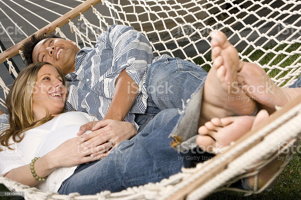 Relaxing in a hammock royalty-free stock photo