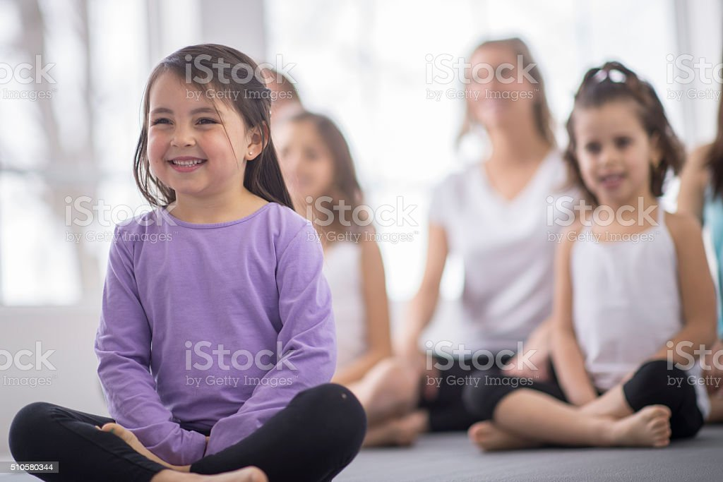 Relaxing in a Yoga Class stock photo