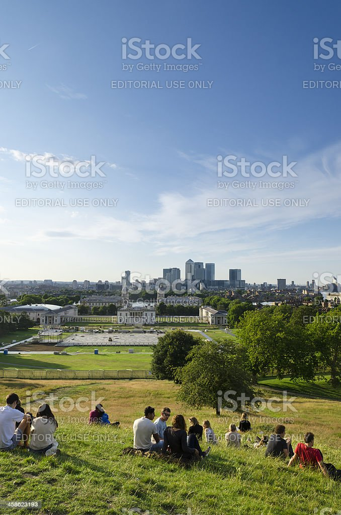 Relaxing in Greenwich Park overlooking London royalty-free stock photo