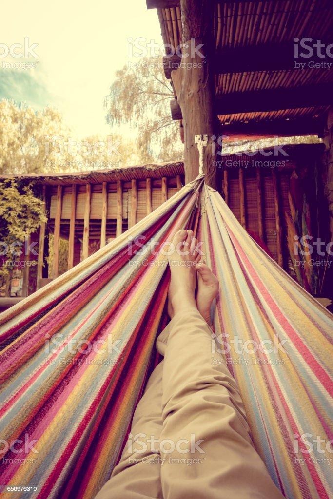 Relaxing in hammock stock photo
