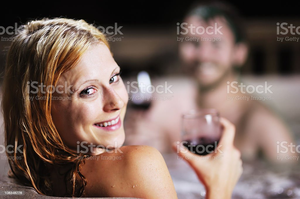 Relaxing in Hot Tub royalty-free stock photo