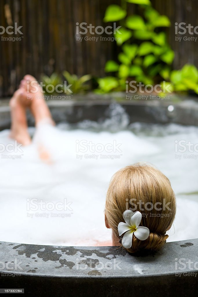 Relaxing in jacuzzi royalty-free stock photo