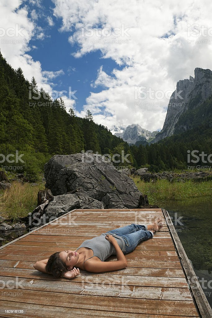 Relaxing in Nature, Lake Gosau with Glacier Dachstein, Austria royalty-free stock photo