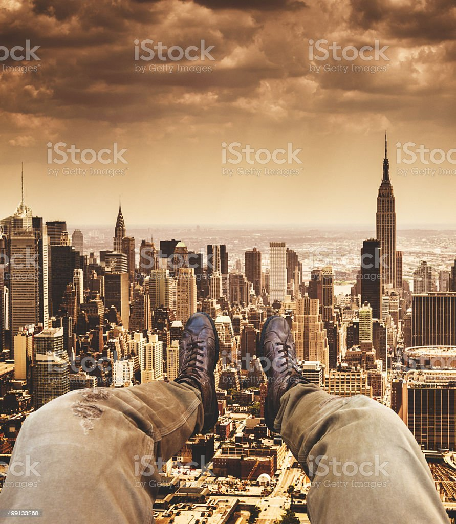 Relaxing in New York City from the helicopter stock photo
