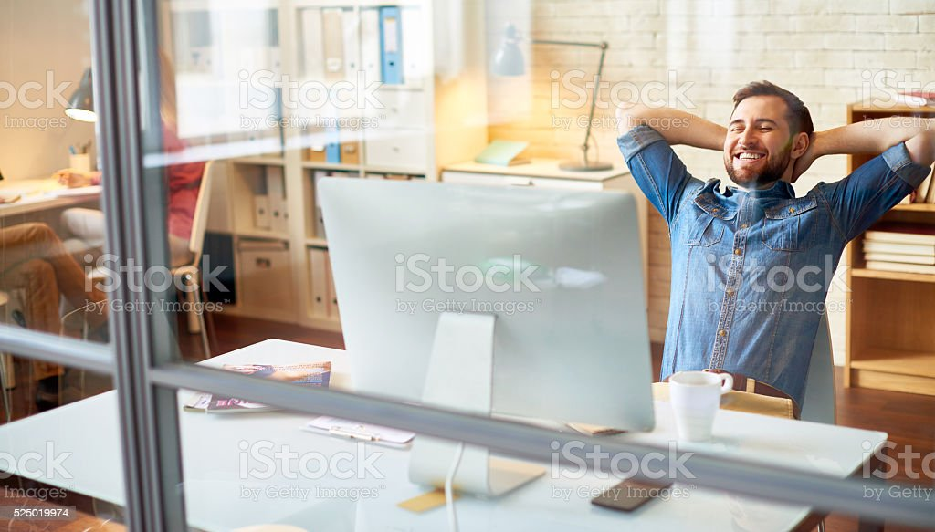 Relaxing in office stock photo