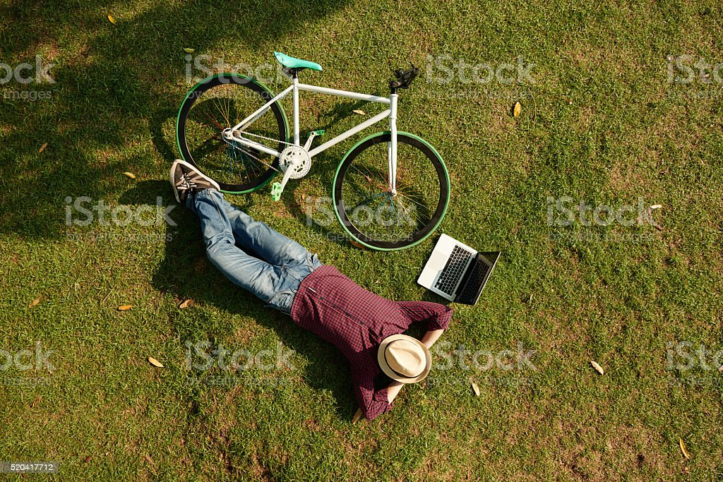 Relaxing in park stock photo
