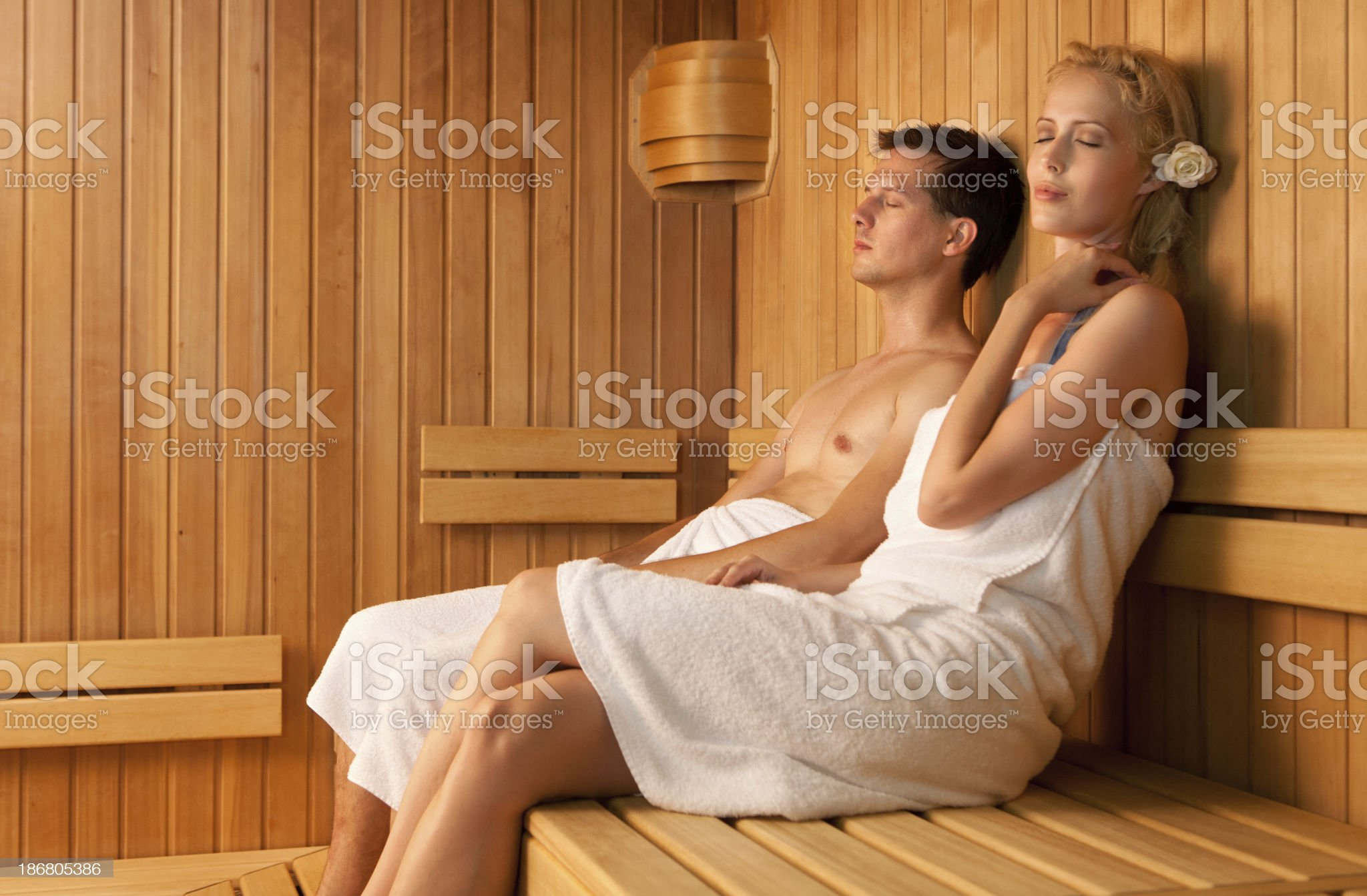relaxing in sauna couple royalty-free stock photo
