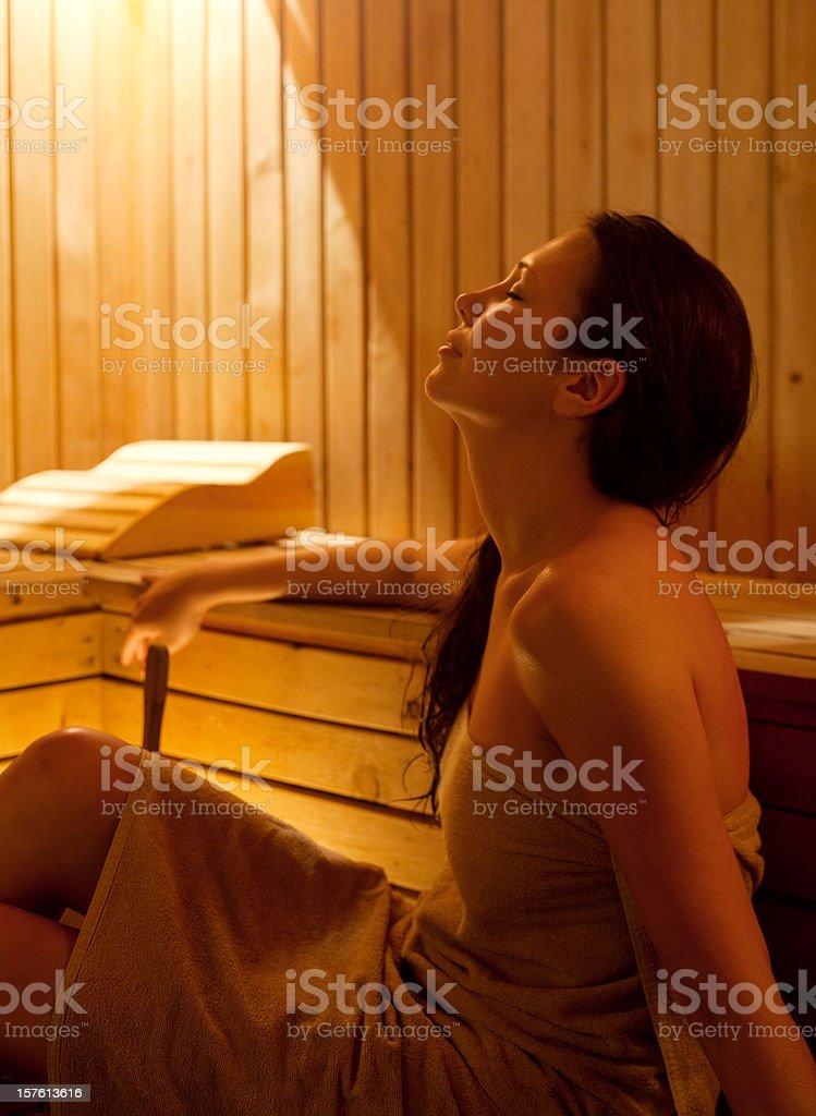 Relaxing in sauna. stock photo
