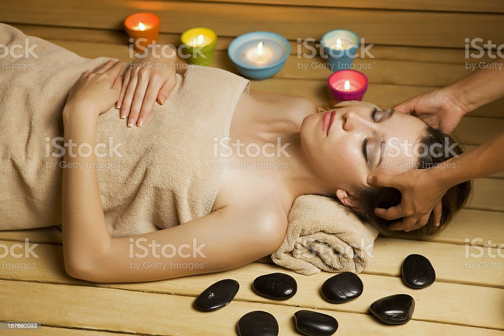 Relaxing in sauna royalty-free stock photo
