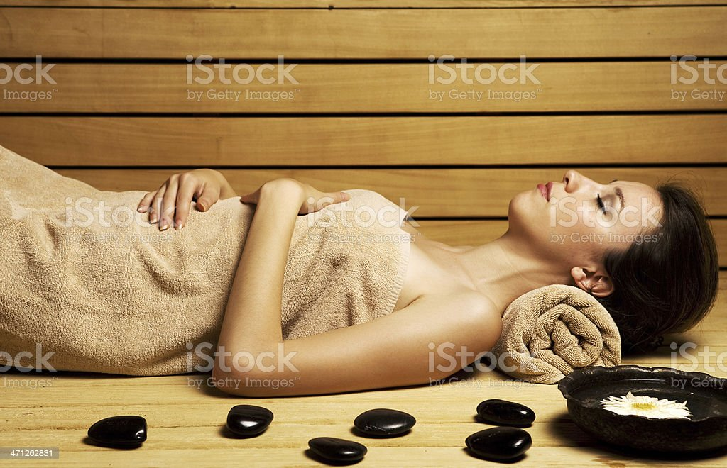 Relaxing in sauna stock photo