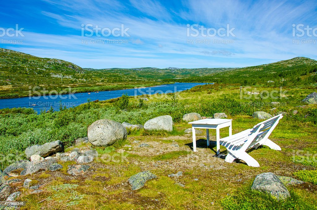Relaxing in the Hardangervidda in Norway stock photo