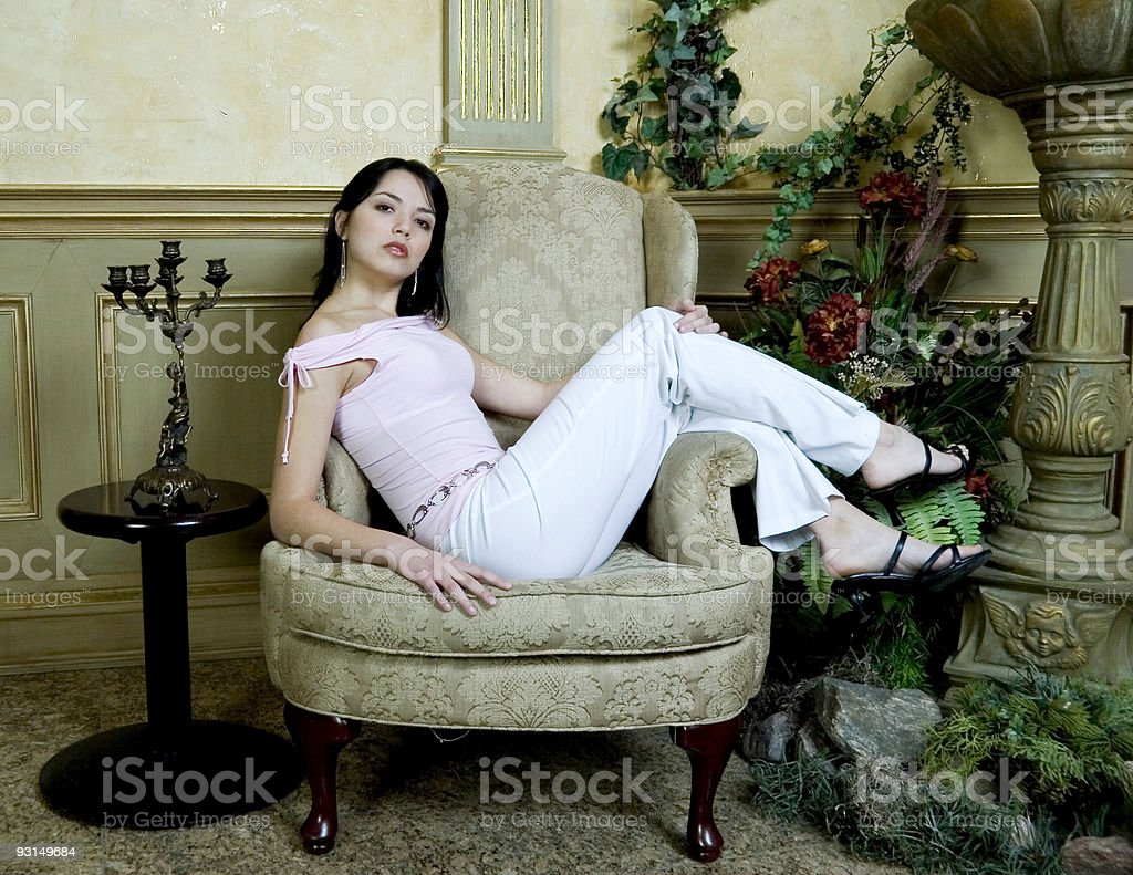 Relaxing in the lobby royalty-free stock photo